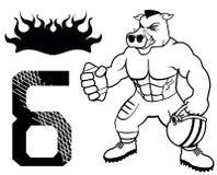 肌肉狂放的猪橄榄球制服 库存照片