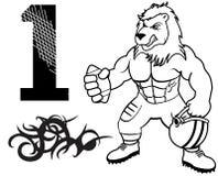 肌肉狮子橄榄球制服 免版税库存图片