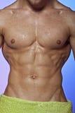 肌肉的人弄湿了 免版税库存照片