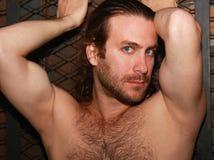 肌肉胸部赤裸的人 库存照片