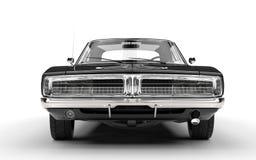 黑肌肉车的前面格栅视图 库存照片