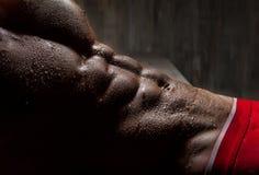 肌肉年轻人炫耀内衣的性感的人 库存图片