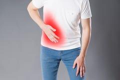 肠痈,遭受充满胃肠痛苦的人攻击  免版税库存图片