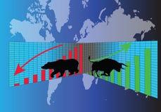 股市、熊和公牛碰撞 皇族释放例证