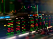 股市图两次曝光摘要  免版税库存图片