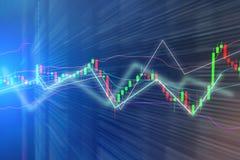 股市图,在蓝色backgroundStock市场图的图表, 免版税库存图片