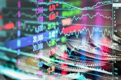 股市或外汇贸易的图表和烛台绘制适用于图表金融投资概念 经济趋向背景为 免版税库存图片