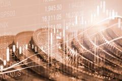 股市或外汇贸易的图表和烛台绘制suitab图表 免版税库存照片