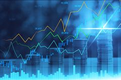 股市或外汇贸易的图表在图表两次曝光 免版税库存图片