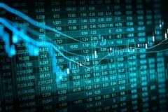 股市数据图表和财政与股票分析ind 免版税库存图片