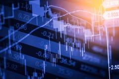 股市显示和财务数据视图从LED 双 免版税图库摄影