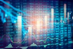 股市显示和财务数据视图从LED 双 库存图片