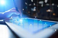 股票交易,数据分析图,图,在虚屏上的图表 企业和技术概念 免版税图库摄影