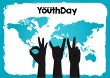 股票传染媒介国际青年天,8月12日圈子手在世界地图蓝色背景 向量例证