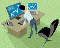 股票经纪人在办公室 向量例证