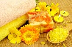 肥皂和与金盏草的腌制槽用食盐 免版税库存图片