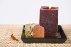肥皂和蜡烛 图库摄影