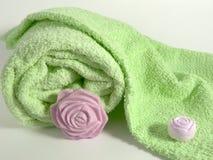 肥皂毛巾 库存图片