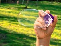 肥皂泡在公园 库存照片