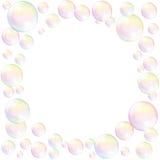 肥皂泡框架背景白色 库存图片