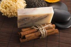 肥皂用桂香和桔子 库存照片