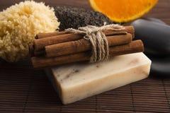 肥皂用桂香和桔子 库存图片