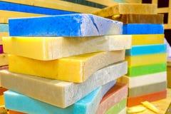 肥皂禁止大块五颜六色的洗涤剂 库存图片