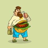 肥胖人吃汉堡三明治苏打软饮料破烂物不健康的快餐概念 皇族释放例证
