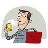 肥胖人饮用的啤酒 库存图片