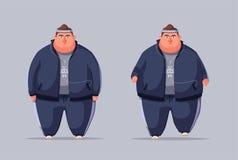 肥胖人 跑和活动生活方式概念 外籍动画片猫逃脱例证屋顶向量 图库摄影