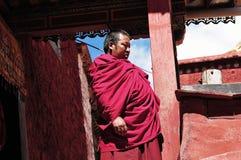肥胖修士在西藏 库存图片