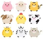 肥胖动物集合 向量例证