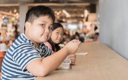 肥胖吃箱子的兄弟和姐妹在食品店吃午餐 免版税库存照片