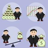 肥胖商人用不同的情况,例证集合 免版税图库摄影