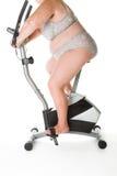 肥胖妇女健身 免版税库存图片