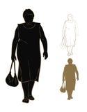 肥胖妇女剪影 免版税库存图片