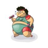 肥胖妇女向体育求助 库存照片