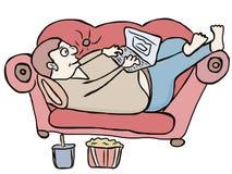 肥胖懒惰人 向量例证