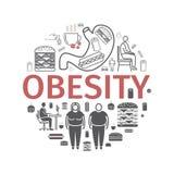 肥胖病线和平的象 Infographics 网图表的传染媒介标志 皇族释放例证