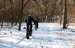 肥胖自行车乘驾的两个人在冬天森林里 库存照片