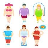 肥胖被设置的妇女滑稽的漫画人物 皇族释放例证