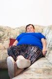 肥胖退休的妇女 免版税图库摄影