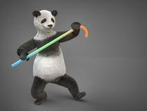 肥腻要人字符动物熊熊猫跳舞藤茎 免版税图库摄影