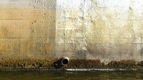 肮脏的下水道在城市 免版税库存图片