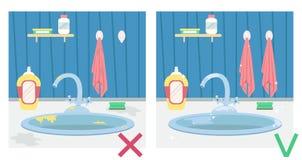 肮脏的厨房水槽和干净的水槽 前后例证 ?? 向量例证