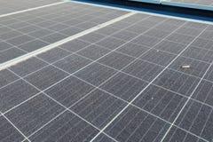 肮脏的多灰尘的太阳电池板 免版税库存图片
