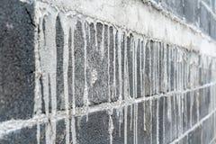 肮脏的水泥块墙壁和水泥地板纹理的 图库摄影