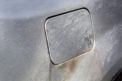 肮脏的汽车燃料盖帽 图库摄影