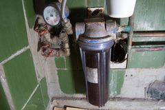 肮脏的滤水器 库存图片