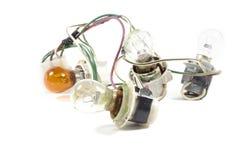 肮脏的电灯泡和电缆与地衣在白色背景 免版税库存照片
